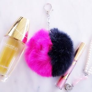 ❤ 4 for $25 ❤ Pink Fur Ball Pom Bag Charm Keychain